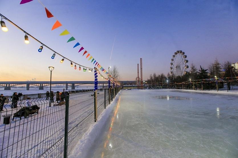 Каток на Михайловской набережной Новосибирск