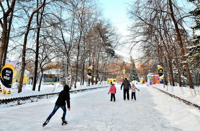 Каток в Центральном парке Новосибирска