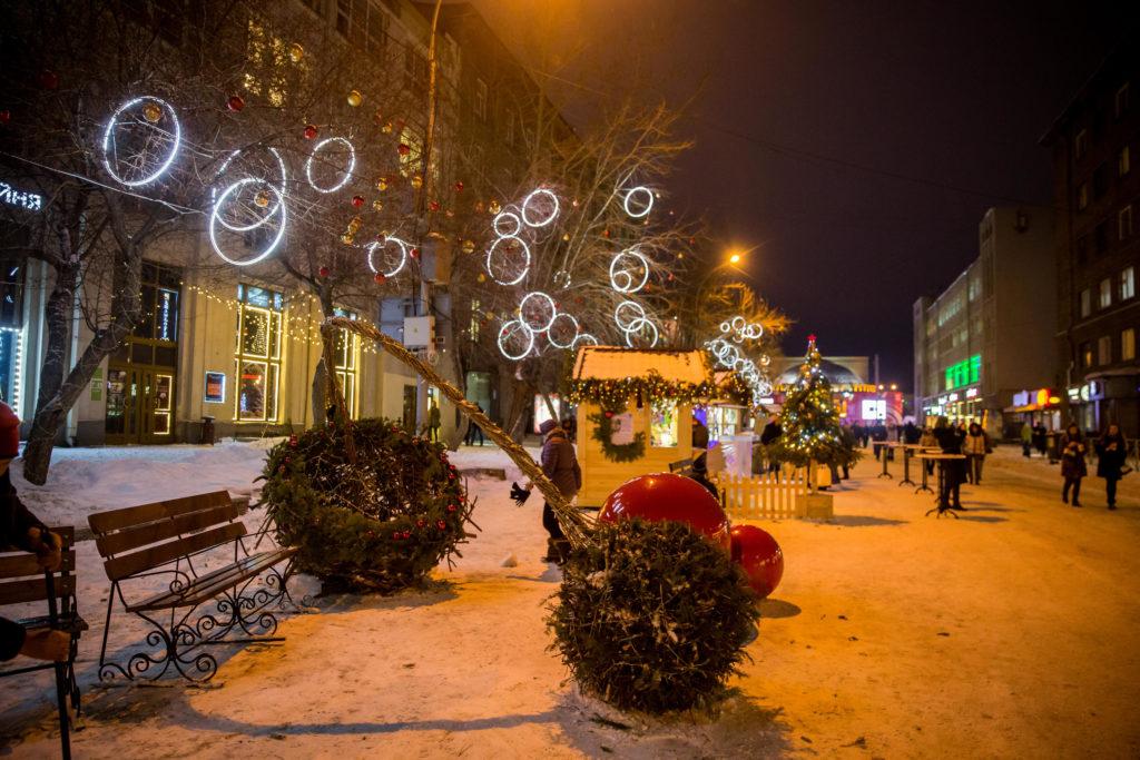 Новогоднее украшение улиц Новосибирска 2020