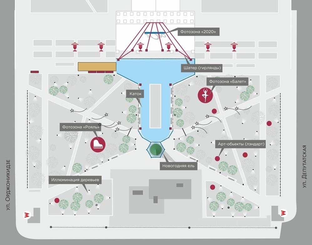 Схема Театрального сквера Новосибирска