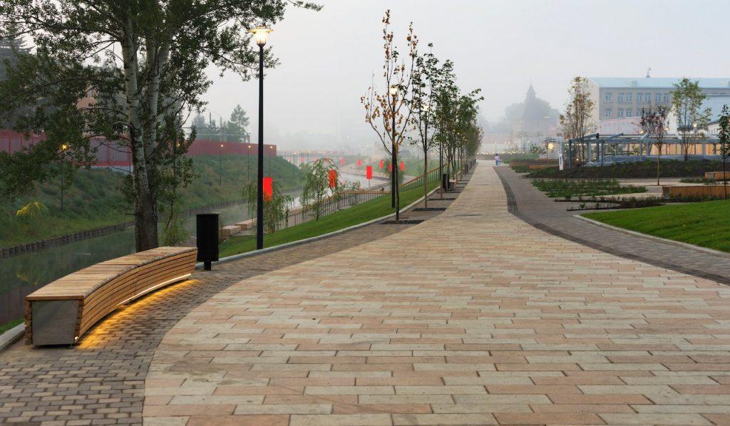 Велодорожка на Казанской набережной Тулы