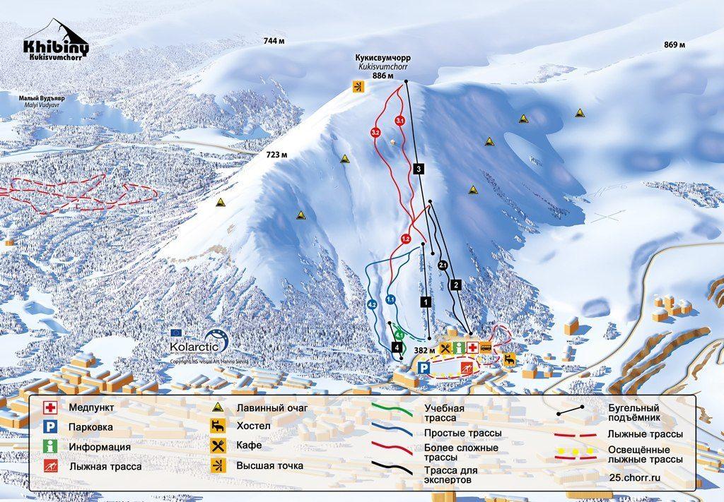 Схема трасс и подъемников горнолыжного курорта Кукисвумчорр