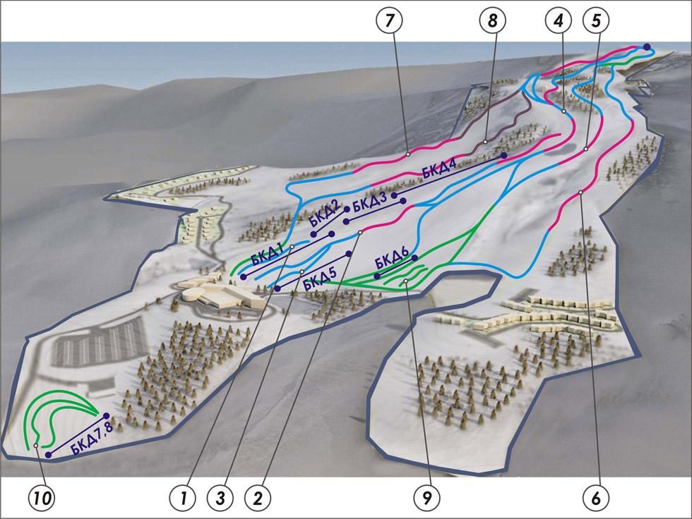 схема трасс горнолыжки Чиндирчеро
