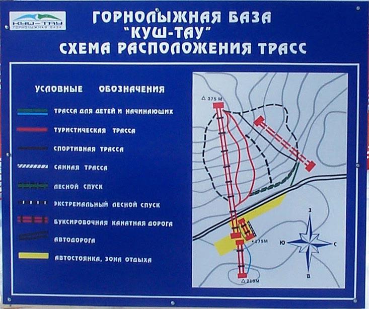 Схема горнолыжного комплекса Куш-Тау (Шиханы)