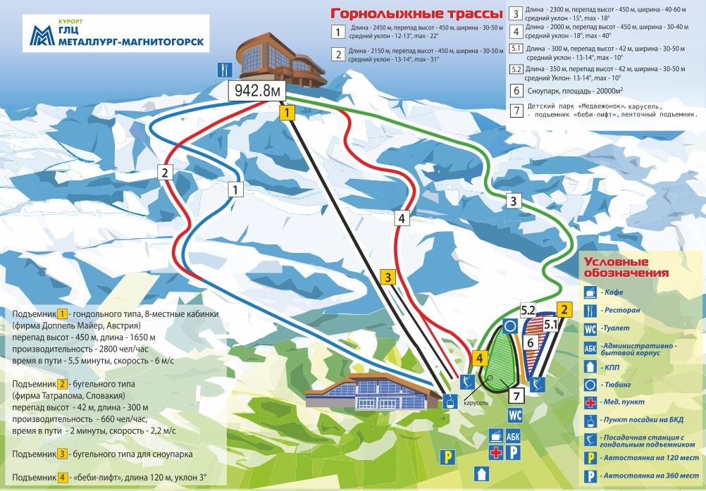Схема трасс горнолыжного курорта Банное