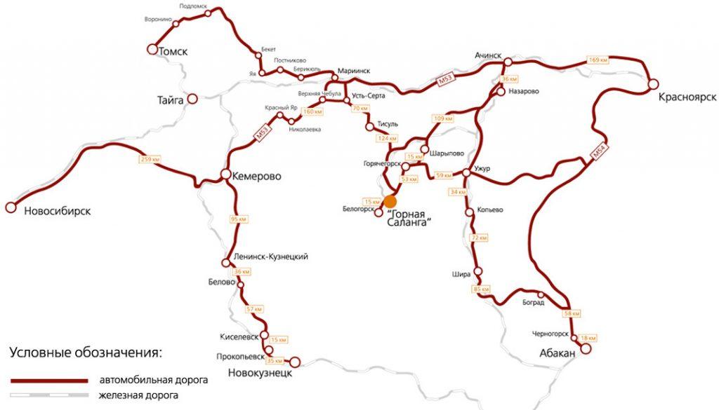 Карта как добраться Горнолыжный курорт Горная Саланга