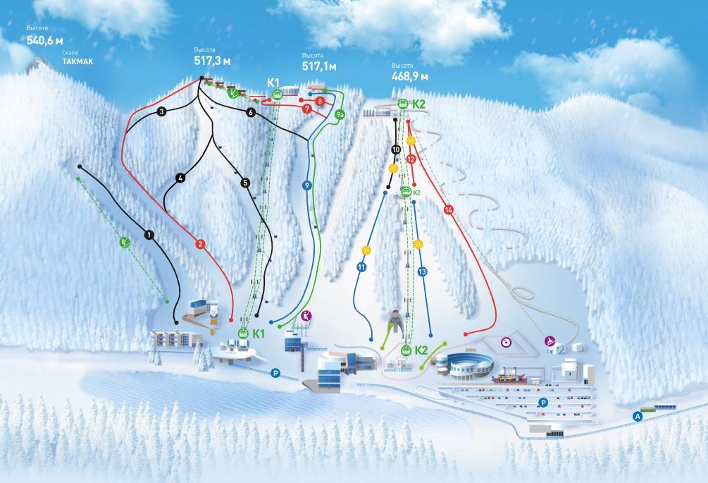 Схема трасс горнолыжного курорта Бобровый лог