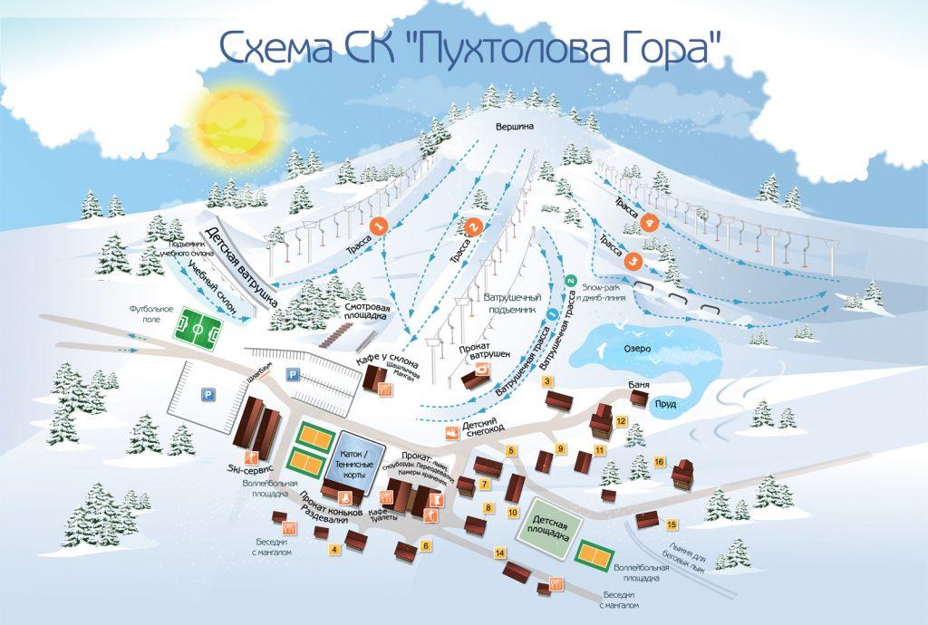 Схема трасс и подъемников горнолыжки Пухтолова гора