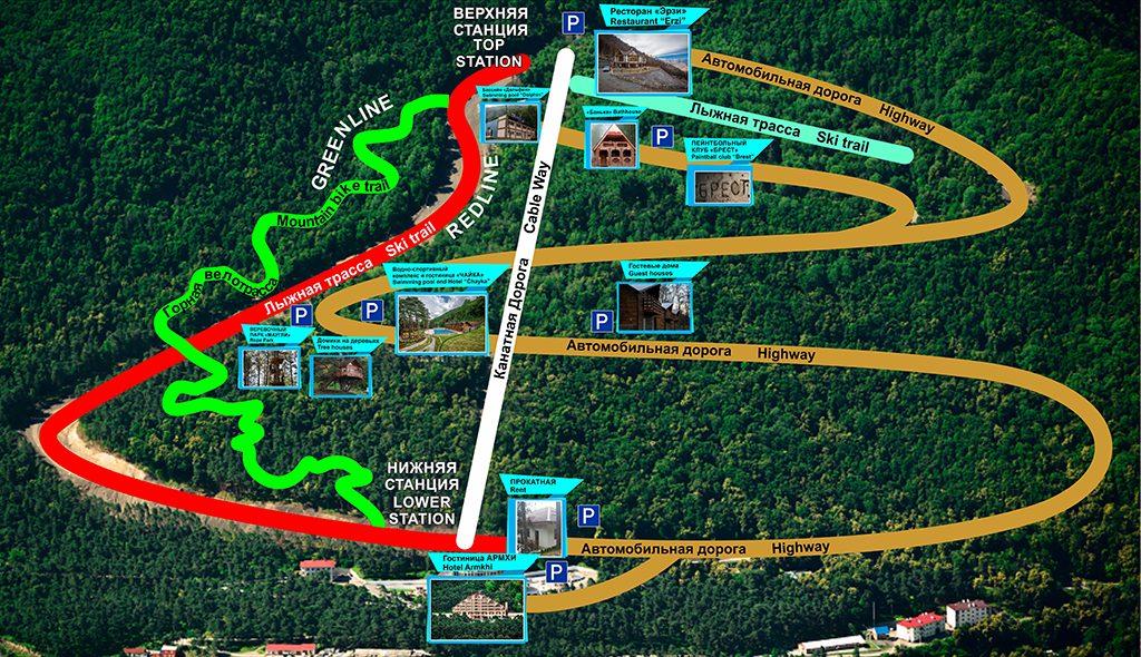 Схема трасс Горнолыжный курорт Армхи в Ингушетии