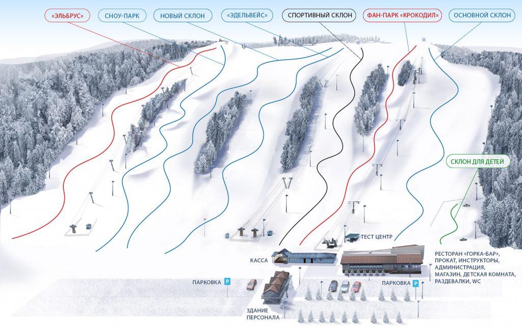Схема склонов горнолыжного курорта Снежный