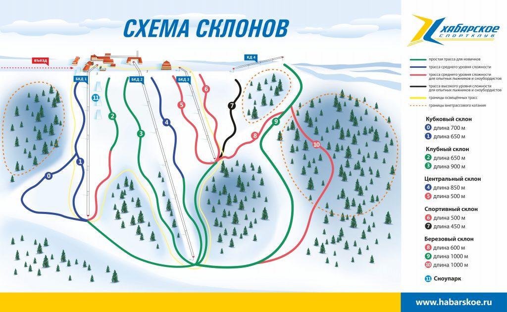 Схема склонов Горнолыжный комплекс Хабарское в Нижегородской области