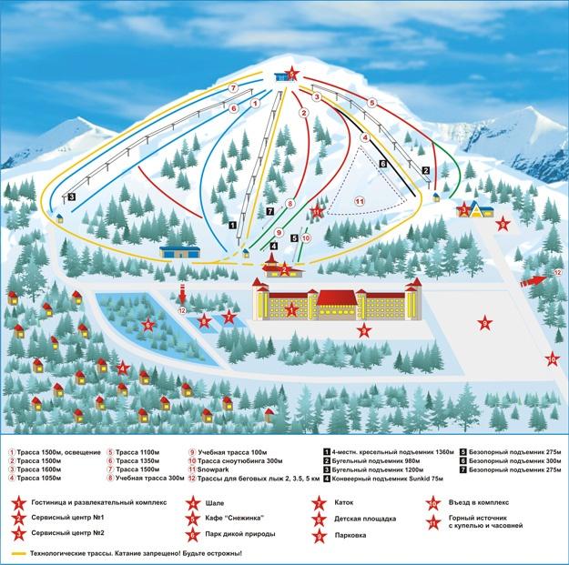 Схема склонов и трасс «Танай» - горнолыжный комплекс