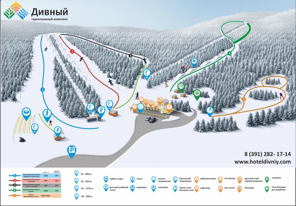 Схема склонов и трасс Горнолыжный комплекс Дивный Ski в Дивногорске