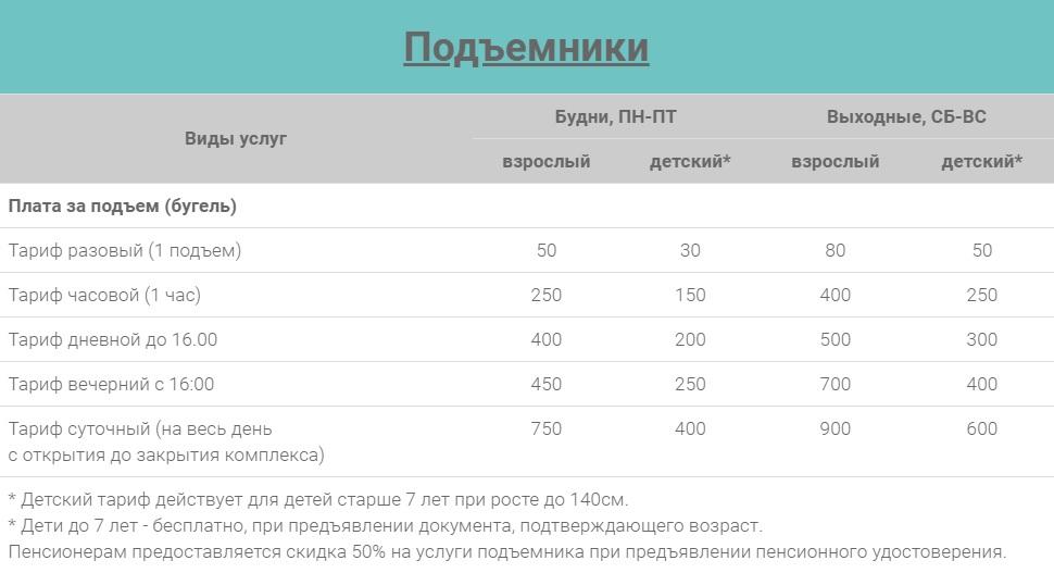 Цены на подъемники Горнолыжный комплекс Хилл Парк (Hill Park) Большая Кузьминка