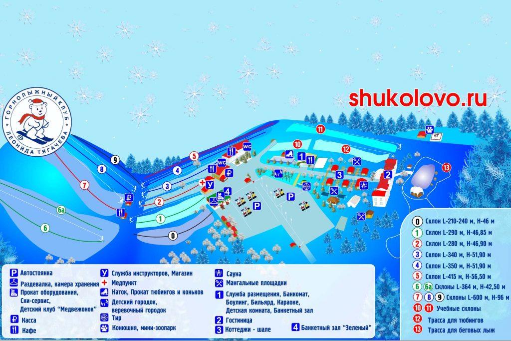 Схема Горнолыжный клуб Леонида Тягачева в Шуколово