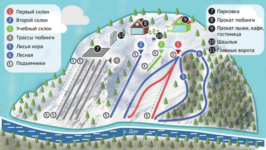 Схема трасс и склонов Донгор - горнолыжный комплекс в Воронежской области