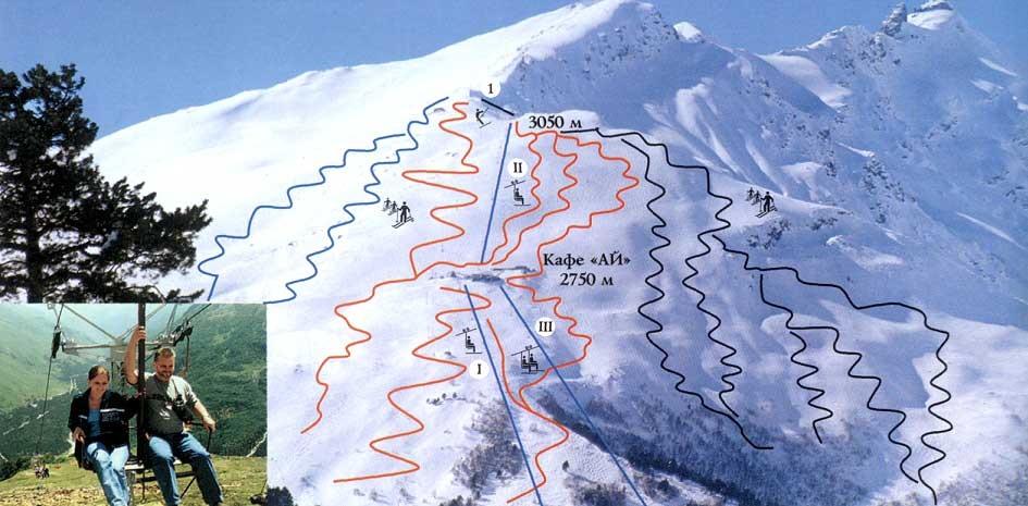 Схема трасс Чегет - горнолыжный курорт в Приэльбрусье