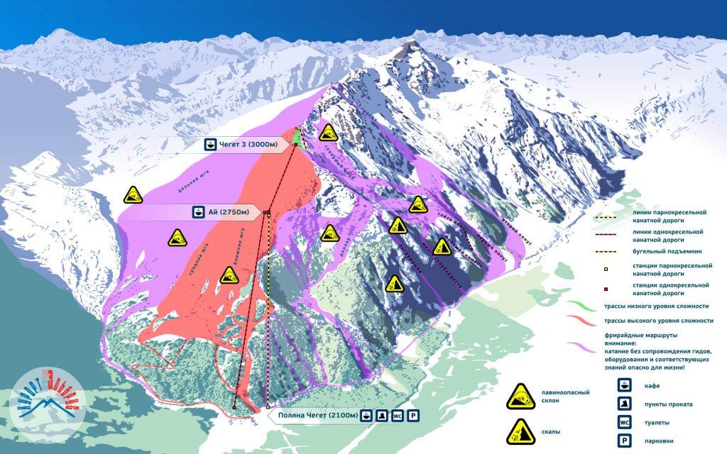 Склоны и трассы Чегет - горнолыжный курорт в Приэльбрусье