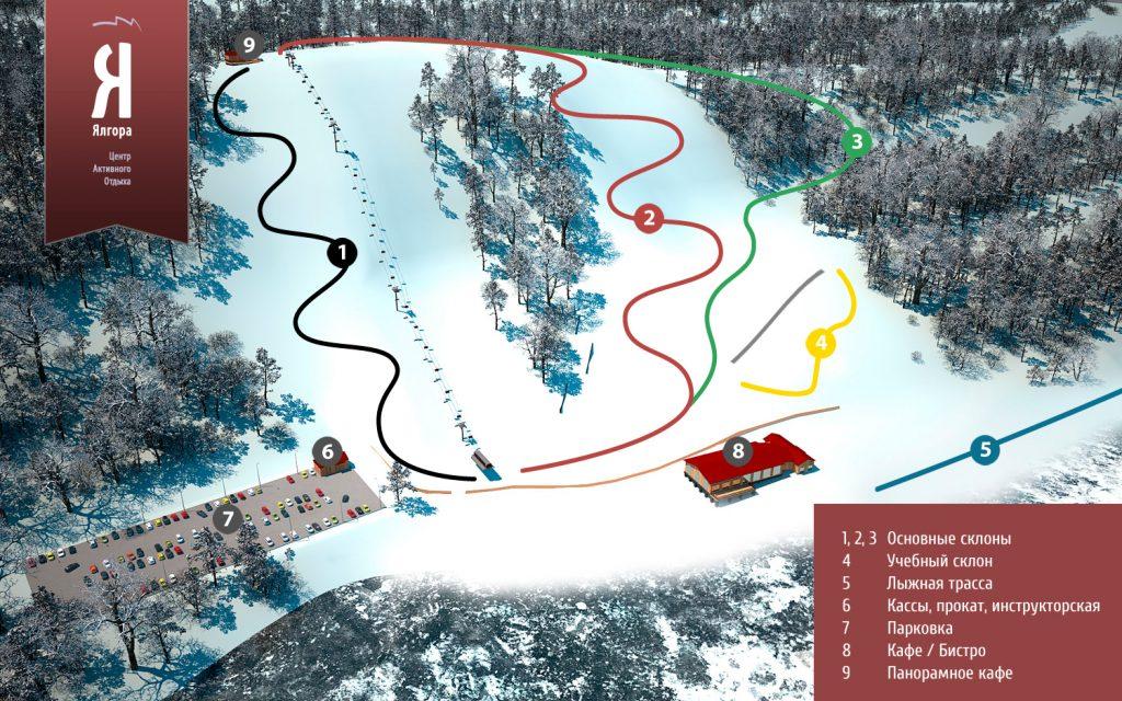 Схема трасс Ялгора - горнолыжный курорт в Карелии