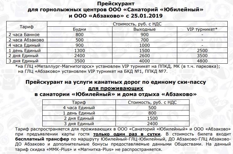 Цена на подъемники Абзаково - горнолыжный курорт в Башкортостане