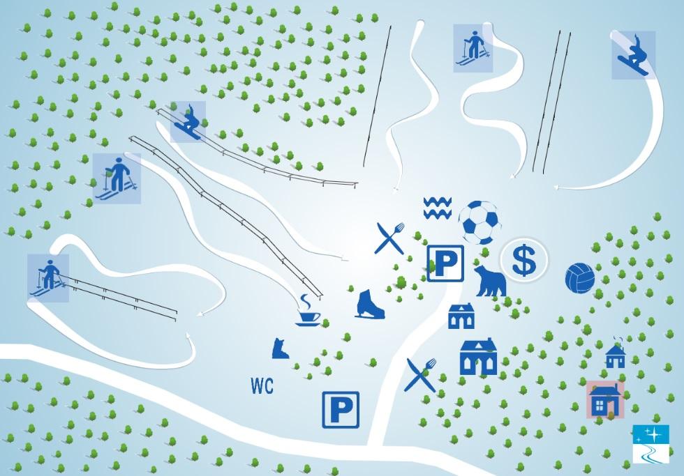 Схема расположения трасс Северный склон - горнолыжный курорт, Токсово