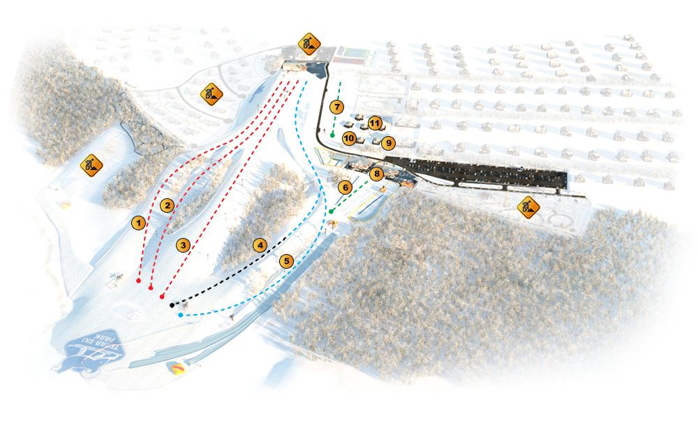 Схема трасс и склонов Терра-Ски Парк - горнолыжный комплекс в Нижегородской области