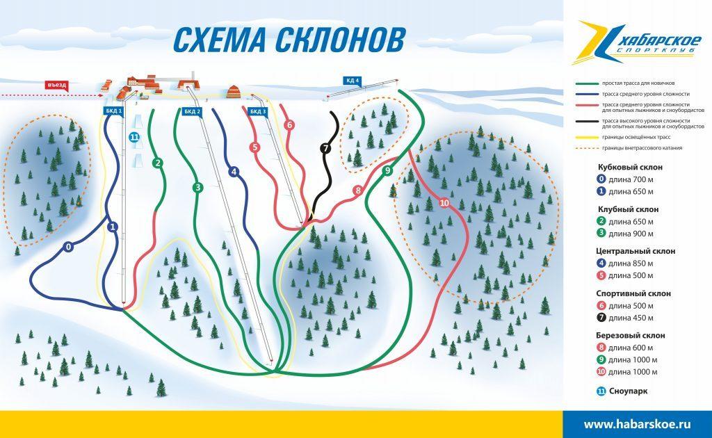 Схема склонов Горнолыжный комплекс Хабарское