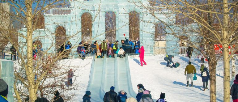 Ледовый городок на Михайловской набережной Новосибирска 2019/2020